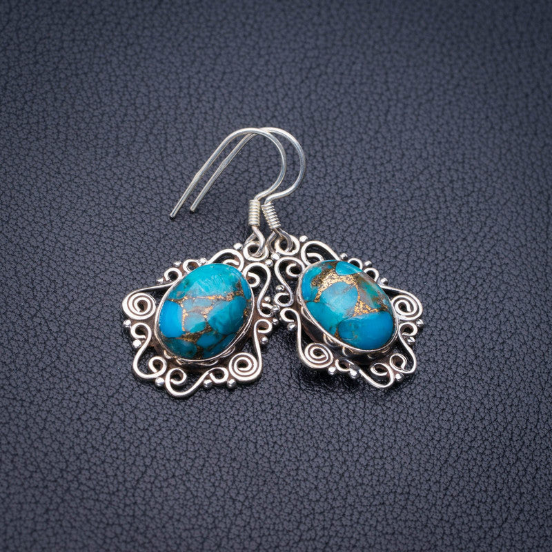 StarGems Natural Copper Turquoise Handmade 925 Sterling Silver Earrings 1.5