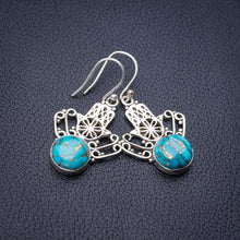 "StarGems Natural Copper Turquoise Crown Handmade 925 Sterling Silver Earrings 1.5"" E1747"