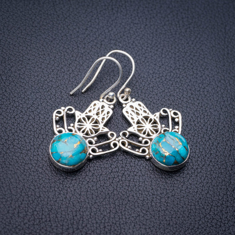 StarGems Natural Copper Turquoise Crown Handmade 925 Sterling Silver Earrings 1.5