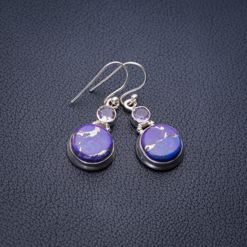 StarGems Natural Copper Turquoise And Amethyst Handmade 925 Sterling Silver Earrings 1.5