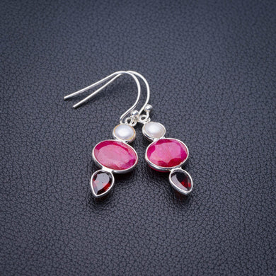 StarGems Natural Cherry Ruby,River Pearl And Garnet Handmade 925 Sterling Silver Earrings 1.5