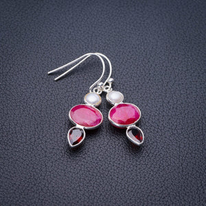 "StarGems Natural Cherry Ruby,River Pearl And Garnet Handmade 925 Sterling Silver Earrings 1.5"" E1782"
