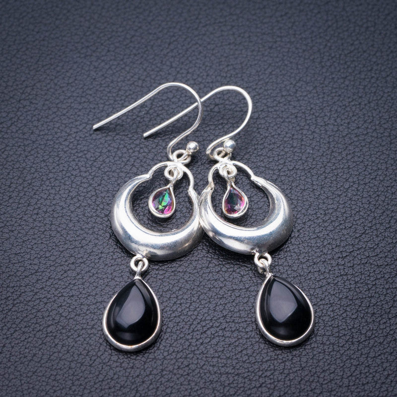 StarGems Natural Black Onyx And Mystical Topaz Handmade 925 Sterling Silver Earrings 2