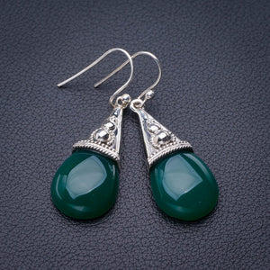 "StarGems Natural Chrysoprase Handmade 925 Sterling Silver Earrings 1.75"" E1876"