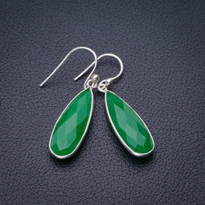 "StarGems Natural Chrysoprase Handmade 925 Sterling Silver Earrings 1.5"" E1877"