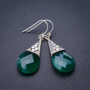 "StarGems Natural Chrysoprase Handmade 925 Sterling Silver Earrings 1.75"" E1878"