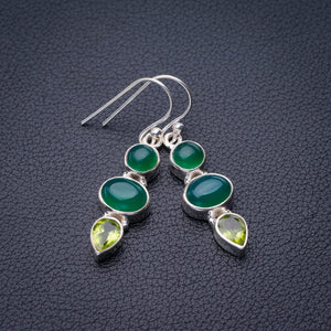 "StarGems Natural Chrysoprase And Peridot Handmade 925 Sterling Silver Earrings 1.5"" E1879"