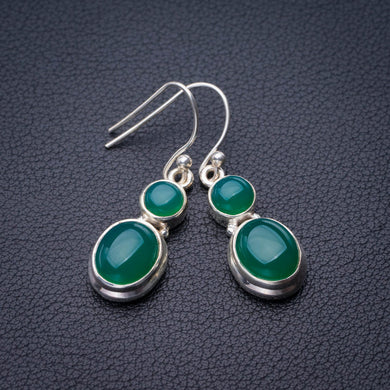 StarGems Natural Chrysoprase Handmade 925 Sterling Silver Earrings 1.5