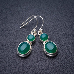 "StarGems Natural Chrysoprase Handmade 925 Sterling Silver Earrings 1.5"" E1880"