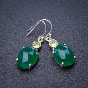 "StarGems Natural Chrysoprase And Peridot Handmade 925 Sterling Silver Earrings 1.5"" E1882"