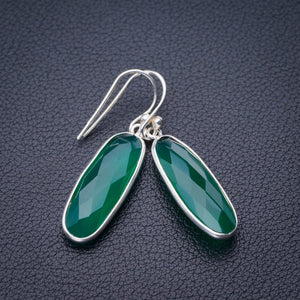 "StarGems Natural Chrysoprase Handmade 925 Sterling Silver Earrings 1.5"" E1884"