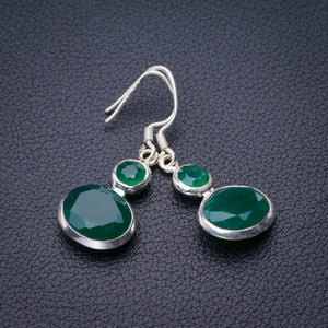 "StarGems Natural Chrysoprase Handmade 925 Sterling Silver Earrings 1.5"" E1885"