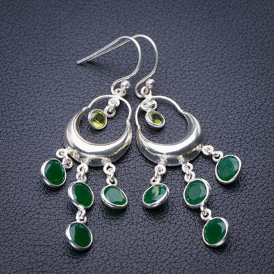 StarGems Natural Chrysoprase And Peridot Handmade 925 Sterling Silver Earrings 2.25