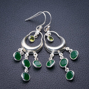 "StarGems Natural Chrysoprase And Peridot Handmade 925 Sterling Silver Earrings 2.25"" E1886"