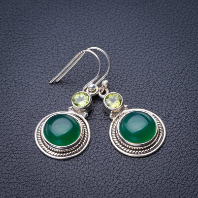 StarGems Natural Chrysoprase And Peridot Handmade 925 Sterling Silver Earrings 1.5