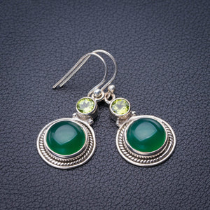 "StarGems Natural Chrysoprase And Peridot Handmade 925 Sterling Silver Earrings 1.5"" E1887"