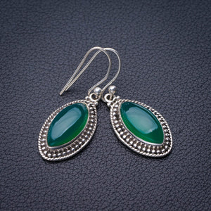 "StarGems Natural Chrysoprase Handmade 925 Sterling Silver Earrings 1.5"" E1888"