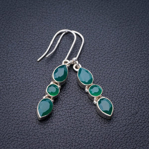 "StarGems Natural Chrysoprase Handmade 925 Sterling Silver Earrings 1.75"" E1889"