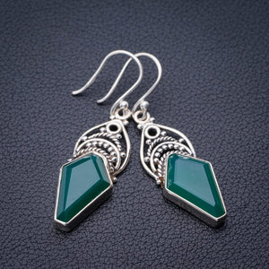 "StarGems Natural Chrysoprase Handmade 925 Sterling Silver Earrings 1.75"" E1890"