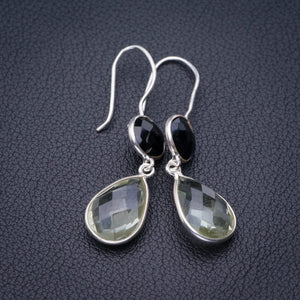 "StarGems Natural Green Amethyst And Black Onyx Handmade 925 Sterling Silver Earrings 1.75"" E1909"