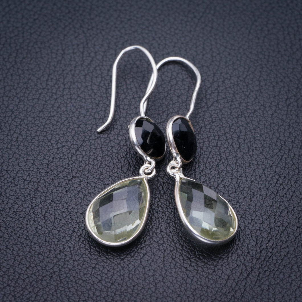 StarGems Natural Green Amethyst And Black Onyx Handmade 925 Sterling Silver Earrings 1.75
