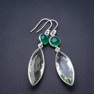 StarGems Natural Green Amethyst And Chrysoprase Handmade 925 Sterling Silver Earrings 2.25