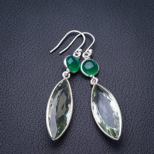 "StarGems Natural Green Amethyst And Chrysoprase Handmade 925 Sterling Silver Earrings 2.25"" E1913"