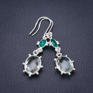 "StarGems Natural Green Amethyst And Chrysoprase Handmade 925 Sterling Silver Earrings 2"" E1915"