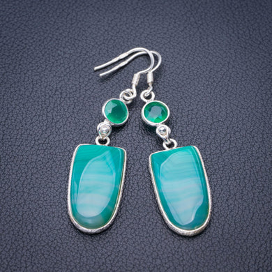 StarGems Natural Botswana Agate And Chrysoprase Handmade 925 Sterling Silver Earrings 2.25