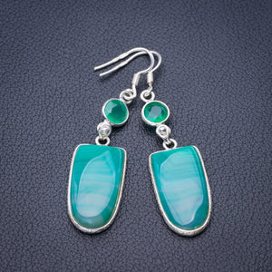 "StarGems Natural Botswana Agate And Chrysoprase Handmade 925 Sterling Silver Earrings 2.25"" E1940"