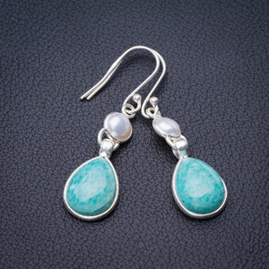 "StarGems Natural Amazonite And River Pearl Handmade 925 Sterling Silver Earrings 1.75"" E1958"