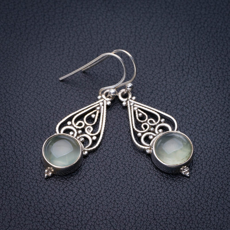 StarGems Natural Prehnite Handmade 925 Sterling Silver Earrings 1.5