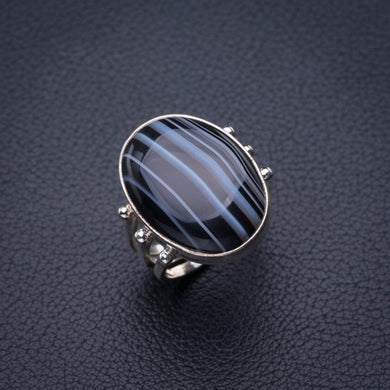 StarGems Natural Botswana Agate Handmade 925 Sterling Silver Ring 5.5 E2123