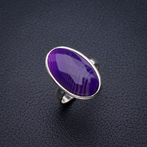 StarGems Natural Botswana Agate Handmade 925 Sterling Silver Ring 6.75 E2125