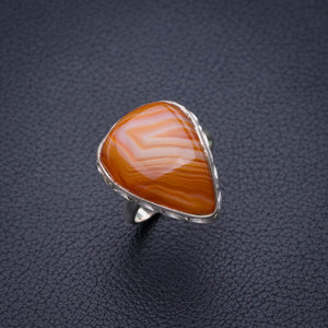 StarGems Natural Botswana Agate Handmade 925 Sterling Silver Ring 6.75 E2129