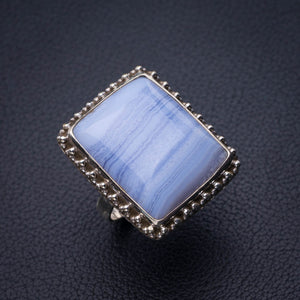 StarGems Natural Blue Lace Agate Handmade 925 Sterling Silver Ring 7 E2260
