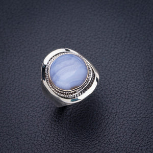 StarGems Natural Blue Lace Agate Handmade 925 Sterling Silver Ring 6.5 E2261