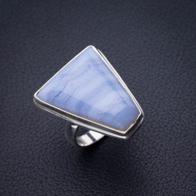 StarGems Natural Blue Lace Agate Handmade 925 Sterling Silver Ring 7.5 E2262