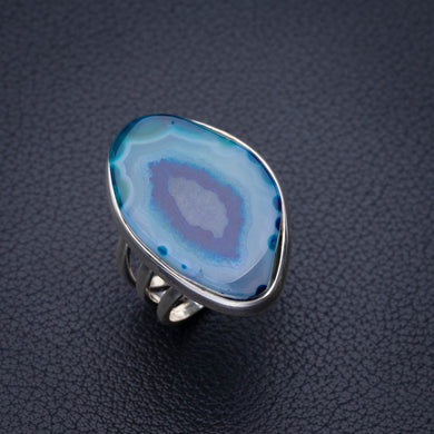 StarGems Natural Slice Agate Druzy Handmade 925 Sterling Silver Ring 5.25 E2678