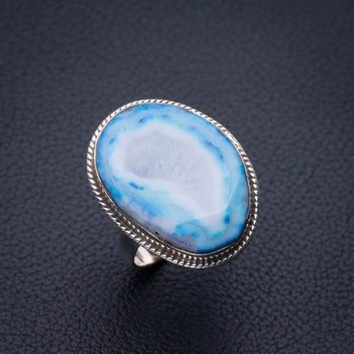 StarGems Natural Slice Agate Druzy Handmade 925 Sterling Silver Ring 7 E2679
