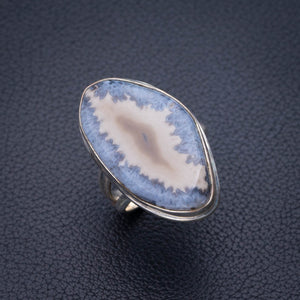 StarGems Natural Slice Agate Druzy Handmade 925 Sterling Silver Ring 6 E2680
