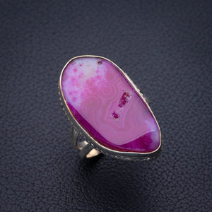 StarGems Natural Slice Agate Druzy Handmade 925 Sterling Silver Ring 7.75 E2681