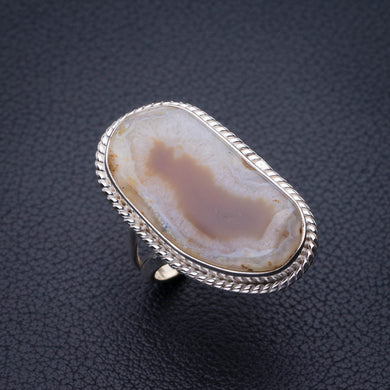 StarGems Natural Slice Agate Druzy Handmade 925 Sterling Silver Ring 8 E2684