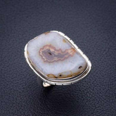 StarGems Natural Slice Agate Druzy Handmade 925 Sterling Silver Ring 8 E2685