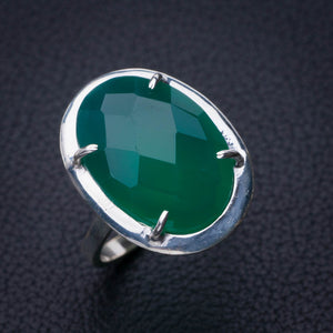 StarGems Natural Chrysoprase Handmade 925 Sterling Silver Ring 7.5 E2755