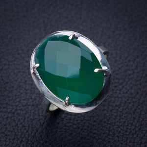 StarGems Natural Chrysoprase Handmade 925 Sterling Silver Ring 8.5 E2756