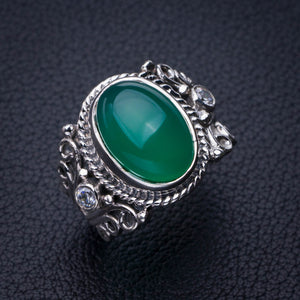StarGems Natural Chrysoprase And Zircon Handmade 925 Sterling Silver Ring 7.25 E2758