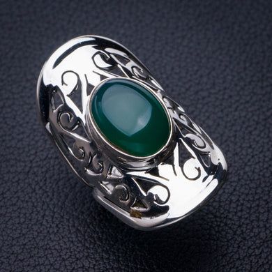 StarGems Natural Chrysoprase Handmade 925 Sterling Silver Ring 6.75 E2762