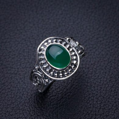 StarGems Natural Chrysoprase Handmade 925 Sterling Silver Ring 7 E2764