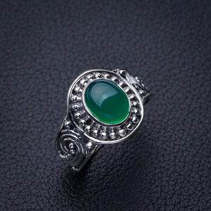 StarGems Natural Chrysoprase Handmade 925 Sterling Silver Ring 7 E2768
